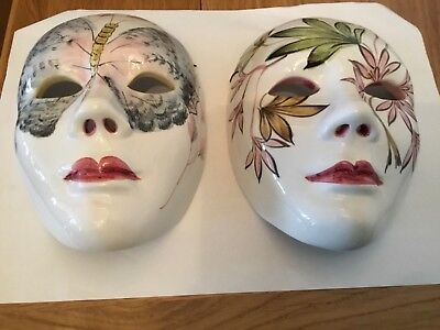 2  Italian Porcelain China face masks - Theatre Wall hanging