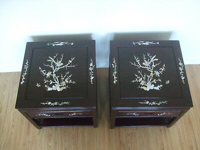 Chinese Rosewood Side Tables - Set of 2 - Reproduction - MOP shell inlaid