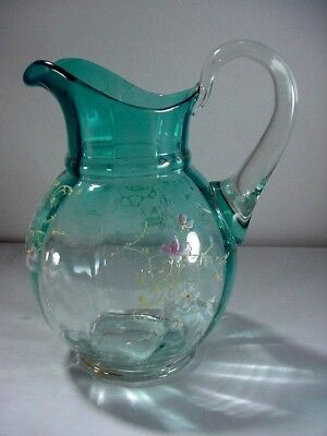 Victorian Panel Glass Ice Blue Pitcher: Hand Painted Enamel Decorations