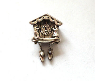 Beautiful 925 Sterling Silver Pendant Cuckoo Clock Swiss Moving Charm Vintage