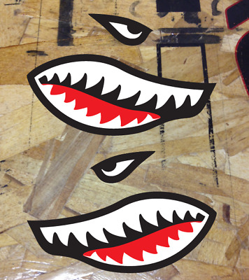 Flying Tigers Shark Teeth Vinyl Decal Sticker - 2 stickers Reverse facing set