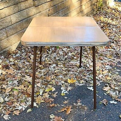Vintage Formica Kitchen Table Aged Brass Metal Legs Woodgrain Top Chrome Apron
