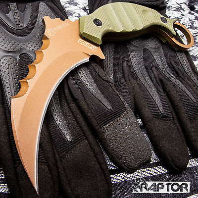 RAPTOR TACTICAL COMBAT KARAMBIT NECK KNIFE Survival Hunting BOWIE Fixed Blade