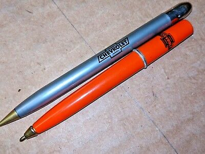 Vintage LOT of 2 CHEVROLET Advertising Ballpoint Bullet Pens Chevy Bowtie Short