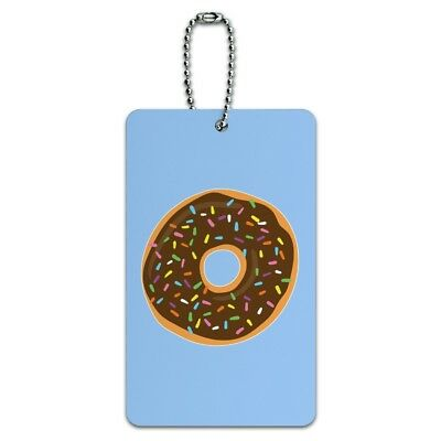 Cute Donut with Sprinkles Chocolate Icing Luggage Card Suitcase Carry-On ID Tag