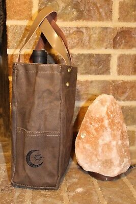Wine Tote Waxed Canvas with Genuine Leather Handles 2 Bottle (Brown) NIP
