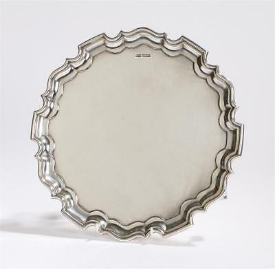 George V Walker and Hall Solid Silver Chippendale Style Salver Weight 824g