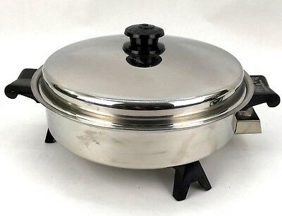 """Saladmaster 7817 11"""" Electric Skillet Fry Pan Stainless Steel USA-Made"""