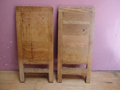 PAIR of ANTIQUE EDWARDIAN OAK PULL-OUT WRITING SLIDES FROM A ROLL TOP DESK