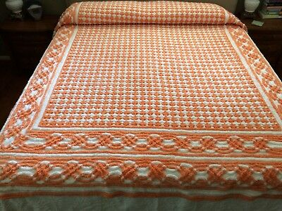 Vintage Chenille Bedspread A Tangerine Dream! Thick Heavy Canadian Made Flawless
