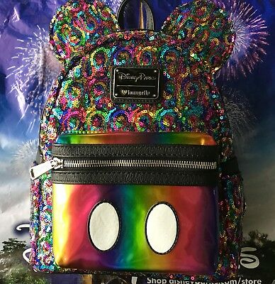Disney Parks Loungefly Rainbow Sequin Mini Backpack Mickey Mouse Ears NEW w/tags