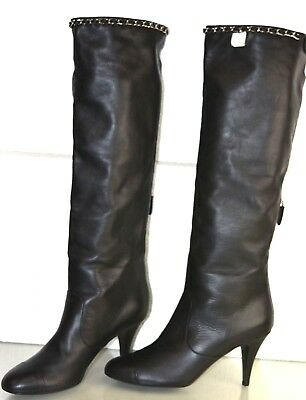 656688d3e4e  1650 New Chanel Black Lambskin Leather Knee High Tall Boots CC Chain Shoes  40