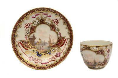Meissen Germany Hand Painted Porcelain Demitasse Cup & Saucer, 19th Century
