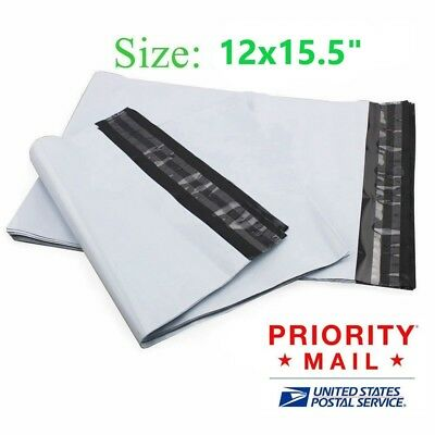 """50 100 200 500 1000 12 x 15"""" Poly Mailers White Envelope Plastic Shipping Bag *"""