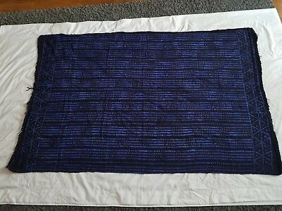 """Authentic African Handwoven Bambara Indigo Mud Cloth From Mali Size 61"""" x 39"""""""