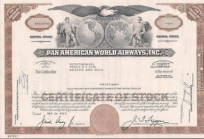 Lot of 5. USA stock certificate Pan American World Airways brown