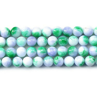 "Green White Malaysian Jade Round Loose Gemstone Beads 15"" 6mm 8mm 10mm 12mm"