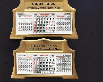 2 Desk Calendars-Citizens Ice Co. 1932 and 1933  Kennebunk & Kennebunkport