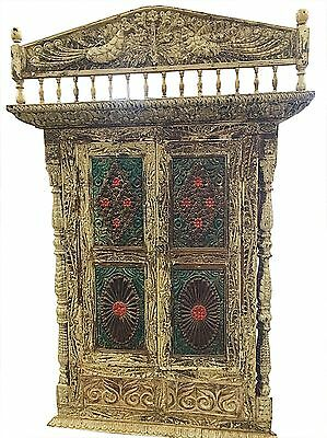 18c Antique Carved Jharokha Peacock India Architectural Window Wall Sculpture
