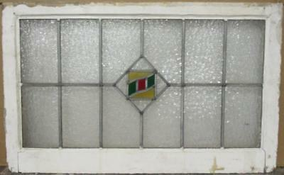 "OLD ENGLISH LEADED STAINED GLASS WINDOW TRANSOM Diamond Design 31.5"" x 19.75"""