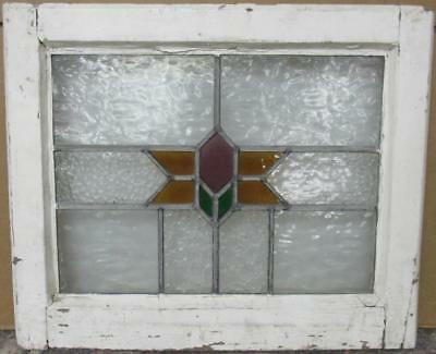 "OLD ENGLISH LEADED STAINED GLASS WINDOW Pretty Geometric Design 21.5"" x 17.75"""
