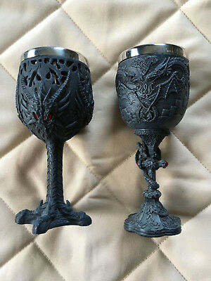 TWO Medieval Dragon Goblet - Celtic, Wiccan, Crest - Stainless Steel Cups