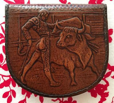 Vintage LEATHER COIN PURSE embossed with MATADOR - Made in Spain