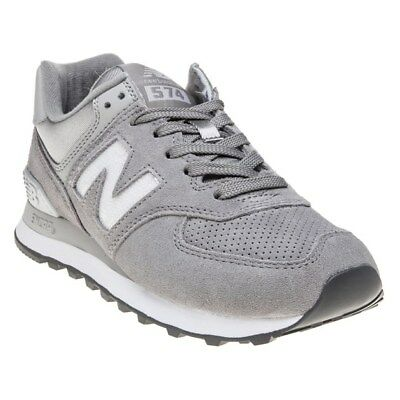the best attitude a0dbe c0b20 NEW WOMENS NEW Balance Metallic Grey Silver 574 Suede Trainers Retro Lace Up