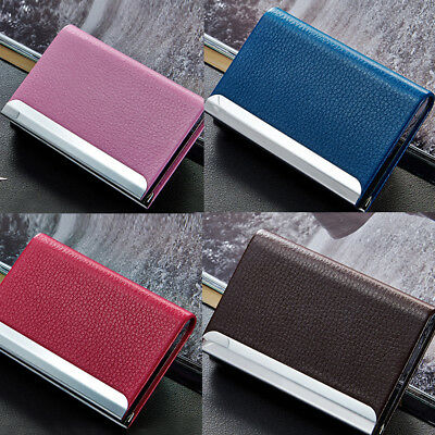 Aluminum PU Leather Business Credit Card Name Id Card Holder Case Wallet Box