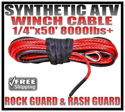 1/4'' x 50' RED Synthetic Winch Cable Line Rope 8000lbs With Sheath & Rash Guard