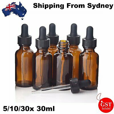 5-30 X 30ml Amber Glass Liquid Dropper Reagent Eye Pipette Essential Oils Bottle