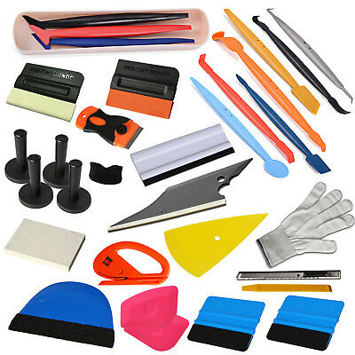 Pro 4 Set Film Install Tools Vinyl Car Wrapping Squeegee 4 Magnets Tuck Tools UK