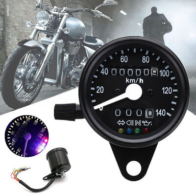 Motorcycle Dual Odometer KMH Speedometer Gauge LED Backlight Signal Light 12V