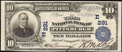 Au 1902 $10 Dollar Third National Bank Note Pittsburgh Pennsylvania Currency 291