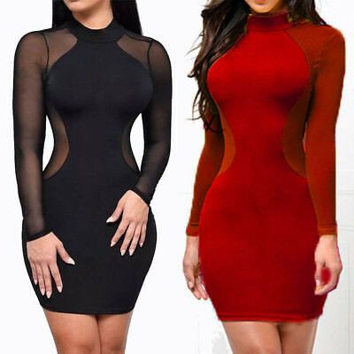 Sexy Women Backless Mesh Sheer Bodycon Pencil Evening Clubwear Party Mini Dress