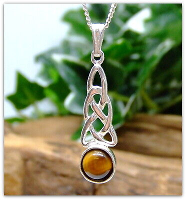 """Celtic Tigers Eye Sterling Silver Necklace Gemstone Pendant 18"""" silver chain"""