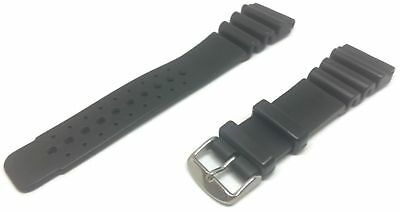 Extra Long Diving Watch Strap Black Thick Rubber Stainless Steel Buckle 18-24mm