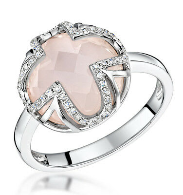 Rose Quartz and Diamond Ring White Gold Hallmarked Engagement Certificated