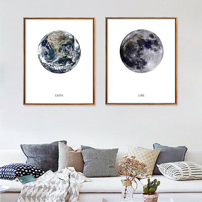 Nordic Circular Contracted Earth Moon Canvas Poster Calssroom Metope Decoration