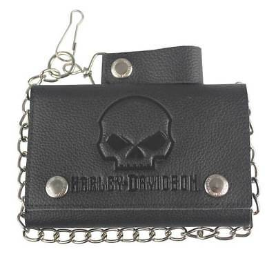 Harley-Davidson® Mens Willie-G Skull Black Leather Tri-fold Chain Wallet XML4719