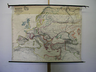 Old Schulwandkarte Europe in 6.century Vintage Wall Map 61 3/8x48 3/8in ~ 1930