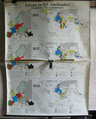 Old Schulwandkarte Europakarte World Map Xx.jh. Vintage Wall 48x65 11/16in 1958