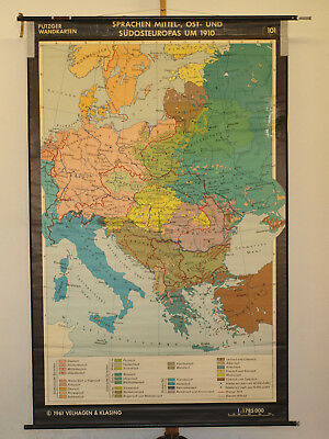 Schulwandkarte Languages Mittel-Ost Europe um 1910 138x215 Vintage Wall Map 1961