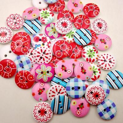 50pc Wooden Colorful Buttons 2 Holes For Scrapbooking Crafts DIY Clothing Sewing