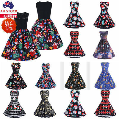 Women Christmas Santa Elk Retro Dress Skater Swing Rockabilly Xmas Party Dress