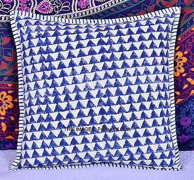 Indian 2 PC Handmade Ikat Hand Block Printed Cushion Cover Ethnic Pillow Cover