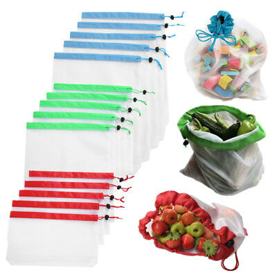 15pcs Reusable Produce Mesh Bags Rope Vegetable Fruit Toys Storage Pouch Bag CO