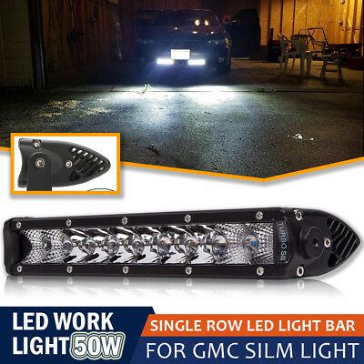 11'' 50W Spot Flood Combo Slim LED Pods OffRoad Light Bar For Truck SUV Boat ATV
