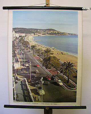 Wall Map Picture France Cote D Azur at Nice 21 11/16x28in Vintage Chart ~ 1960