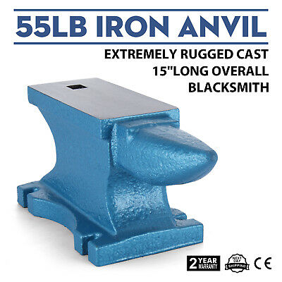 55LB Iron Anvil Extremely Rugged Cast Blacksmith Silversmith Durable Round Horn